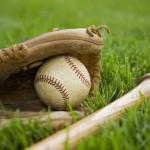 baseball glove, baseball, bat, lying in grass