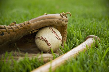 baseball glove, baseball, bat, lying in grass